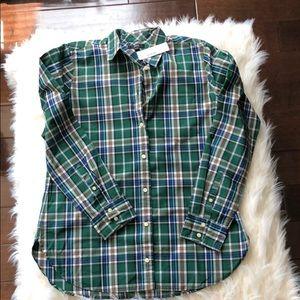 Oxford button front plaid shirt